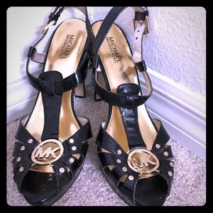 Michael Kors Black Patent Leather Platform Sandals